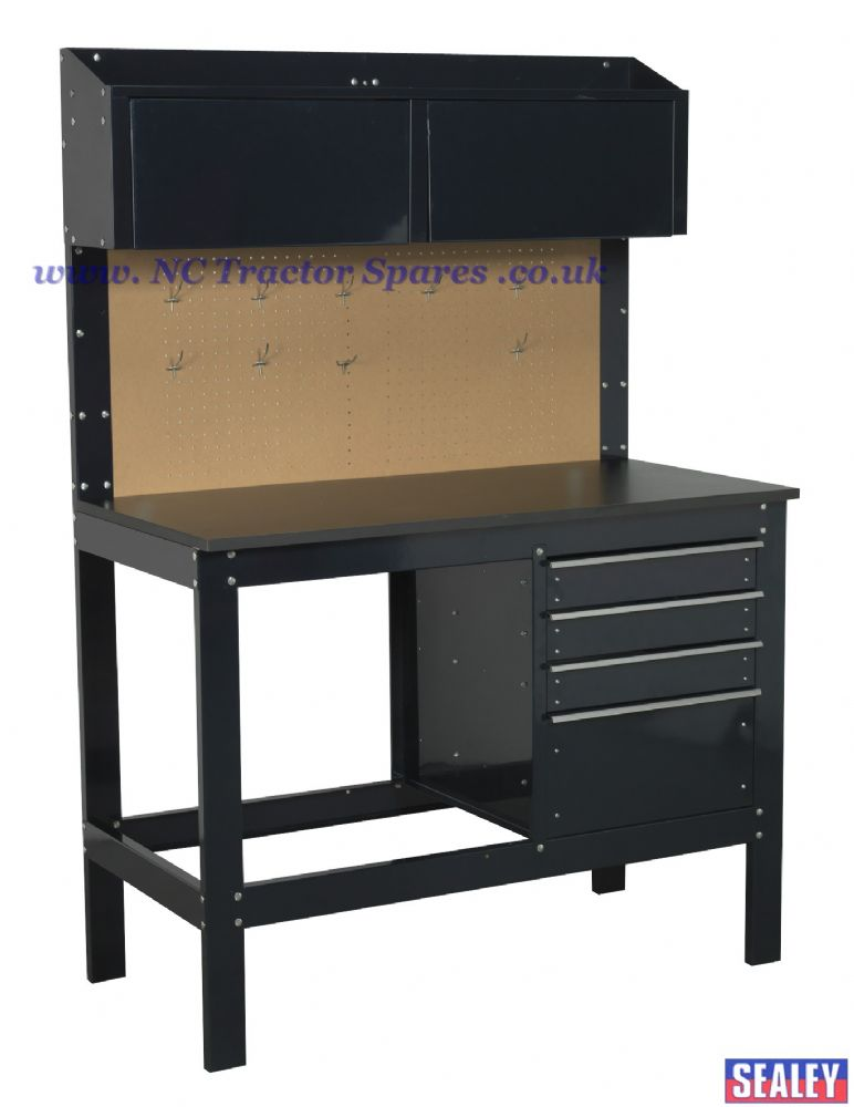 Heavy-Duty Steel Workbench with 4 Drawers & 2 Top Cabinets
